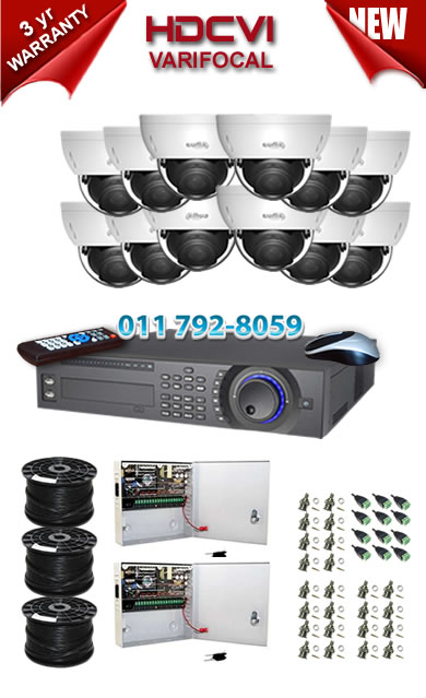 Dahua HDCVI - 16 Ch DVR + 12 x Varifocal 720P dome cameras (2.7-12mm zoom) with 30m IR
