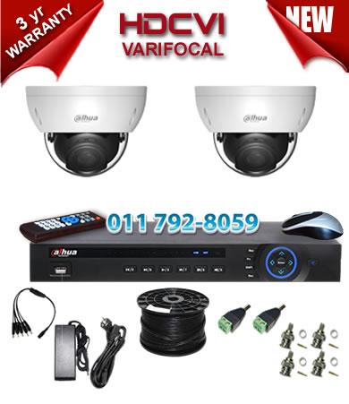 Dahua HDCVI - 4 Ch DVR + 2 x Varifocal 720P dome cameras (2.7-12mm zoom) with 30m IR