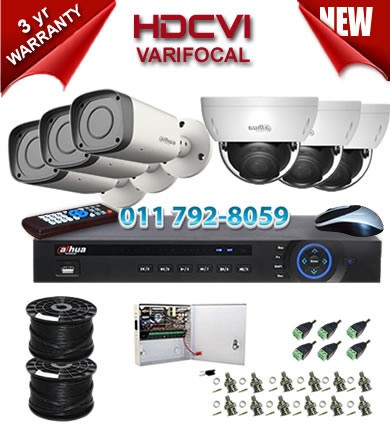 Dahua HDCVI - 6 Ch DVR + 6 x Varifocal 720P dome/bullet cameras (2.7-12mm zoom) with 30m IR