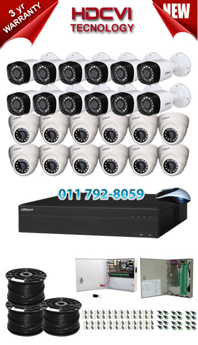 32 Channel 720P HDCVI DVR + 12 x 1Mp 720P IR HDCVI Dome Cameras + 12 x 1Mp 720P IR HDCVI Bullet Cameras