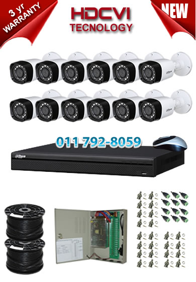 16 Channel 720P HDCVI DVR + 12 x 1Mp 720P IR HDCVI Bullet Cameras