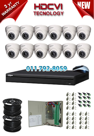 16 Channel 720P HDCVI DVR + 12 x 1Mp 720P IR HDCVI Dome Cameras