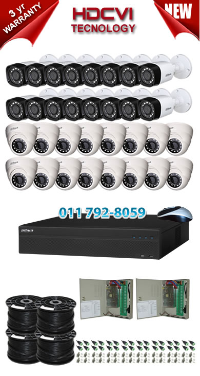 32 Channel 720P HDCVI DVR + 16 x 1Mp 720P IR HDCVI Dome Cameras + 16 x 1Mp 720P IR HDCVI Bullet Cameras