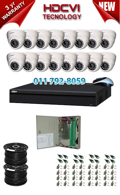 16 Channel 720P HDCVI DVR + 16 x 1Mp 720P IR HDCVI Dome Cameras