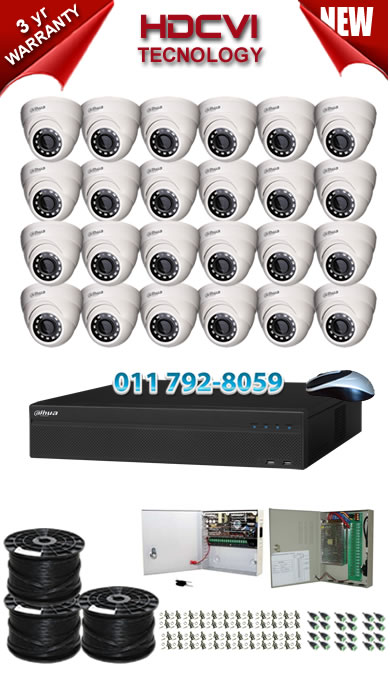 Dahua 32 Channel 2U HDCVI DVR up to 32TB storage + 24 x 1Mp 720P IR HDCVI Dome Cameras