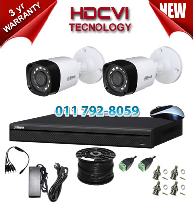 HDCVI 4 Channel 1Mp DVR + 2 x 1Mp 720P IR HDCVI Bullet Cameras