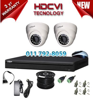 4 Channel 720P HDCVI DVR + 2 x 1Mp 720P IR HDCVI Dome Cameras