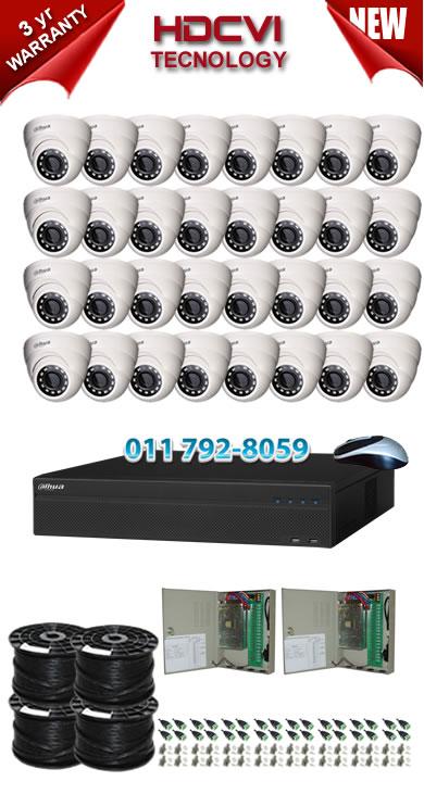 32 Channel 720P HDCVI DVR + 32 x 1Mp 720P IR HDCVI Dome Cameras