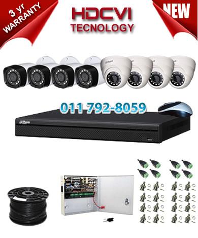 8 Channel 720P HDCVI DVR + 4 x 1Mp 720P IR HDCVI Dome Cameras + 4 x 1Mp 720P IR HDCVI Bullet Cameras