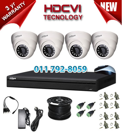 4 Channel 720P HDCVI DVR + 4 x 1Mp 720P IR HDCVI Dome Cameras