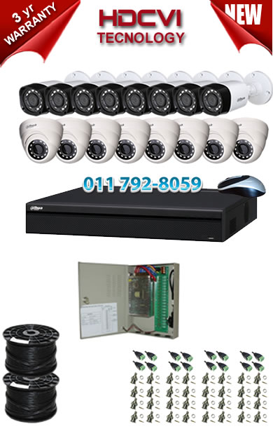 16 Channel 720P HDCVI DVR + 8 x 1Mp 720P IR HDCVI Dome Cameras + 8 x 1Mp 720P IR HDCVI Bullet Cameras
