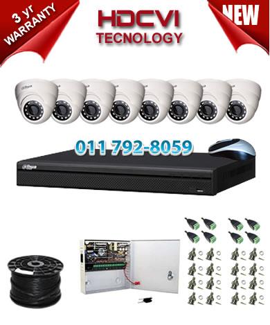 8 Channel 720P HDCVI DVR + 8 x 1Mp 720P IR HDCVI Dome Cameras