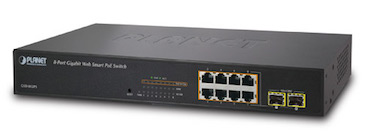 8-Port 10/100/1000Mbps Web Smart PoE Switch with 2 Shared Fibre Optics SFP Ports
