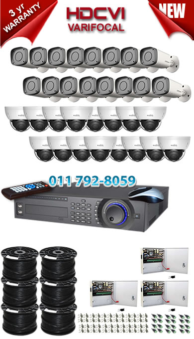 Dahua HDCVI - 32 Ch DVR + 32 x Varifocal 720P dome/bullet cameras (2.7-12mm zoom) with 30m IR