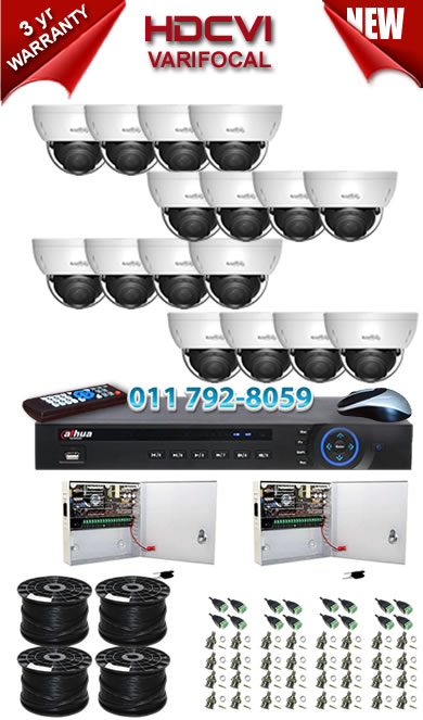 Dahua HDCVI - 16 Ch DVR + 16 x Varifocal 720P dome cameras (2.7-12mm zoom) with 30m IR
