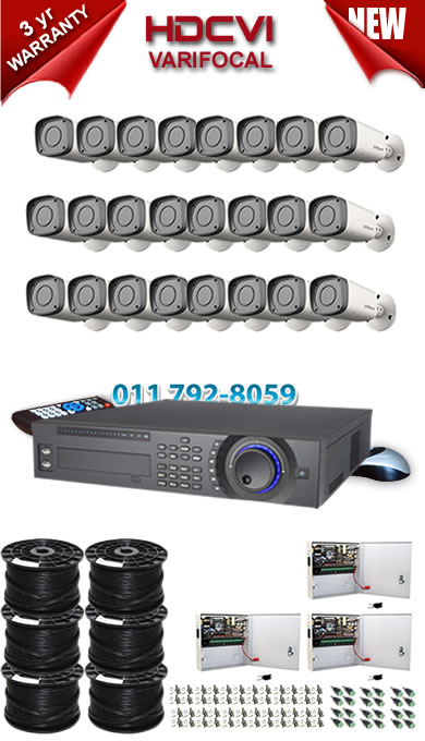 Dahua HDCVI - 32 Ch DVR + 24 x Varifocal 720P bullet cameras (2.7-12mm zoom) with 30m IR