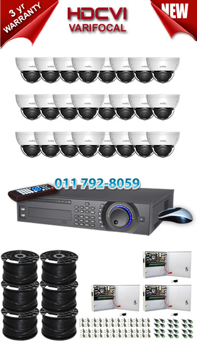 Dahua HDCVI - 32 Ch DVR + 24 x Varifocal 720P dome cameras (2.7-12mm zoom) with 30m IR