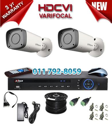 Dahua HDCVI - 4 Ch DVR + 2 x Varifocal 720P bullet cameras (2.7-12mm zoom) with 30m IR