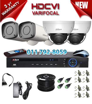 Dahua HDCVI - 4 Ch DVR + 4 x Varifocal 720P dome/bullet cameras (2.7-12mm zoom) with 30m IR