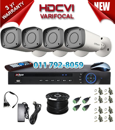 Dahua HDCVI - 4 Ch DVR + 4 x Varifocal 720P bullet cameras (2.7-12mm zoom) with 30m IR