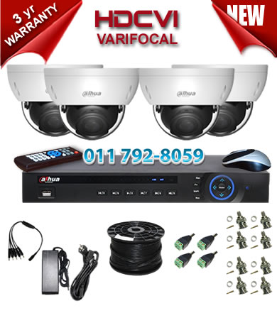 Dahua HDCVI - 4 Ch DVR + 4 x Varifocal 720P dome cameras (2.7-12mm zoom) with 30m IR