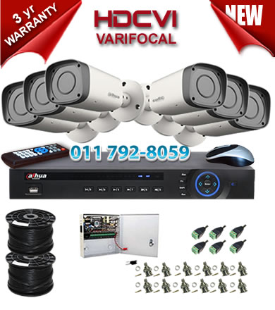 Dahua HDCVI - 8 Ch DVR + 6 x Varifocal 720P bullet cameras (2.7-12mm zoom) with 30m IR
