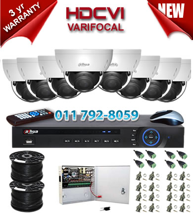 Dahua HDCVI - 8 Ch DVR + 8 x Varifocal 720P dome cameras (2.7-12mm zoom) with 30m IR