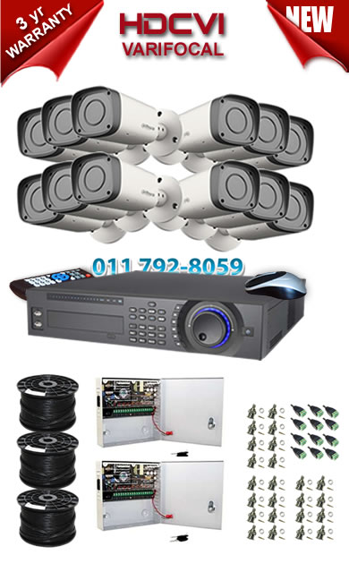 Dahua HDCVI - 16 Ch DVR + 12 x Varifocal 720P bullet cameras (2.7-12mm zoom) with 30m IR