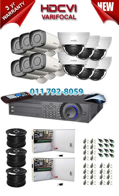 Dahua HDCVI - 16 Ch DVR + 12 x Varifocal 720P dome/bullet cameras (2.7-12mm zoom) with 30m IR