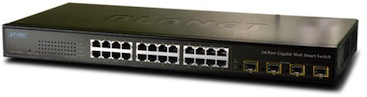 Planet 24-Port Web Smart Gigabit Ethernet Switch with 4 Shared SFP Interfaces