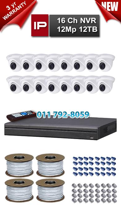 Dahua 16 Ch 4K NVR 12Mp Resolution up to 12TB Storage + 16 x 1.3Mp 3.6mm Lens 30m IR IP Dome Cameras