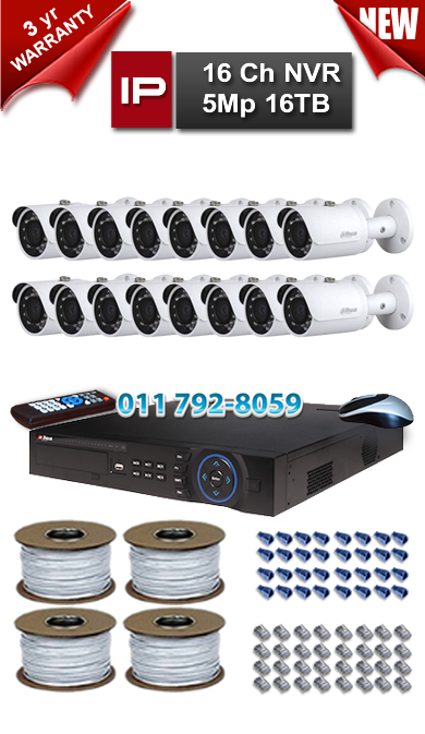 Dahua 16 Ch NVR 5Mp Resolution up to 16TB Storage + 16 x 1.3Mp 3.6mm Lens 30m IR IP Bullet Cameras