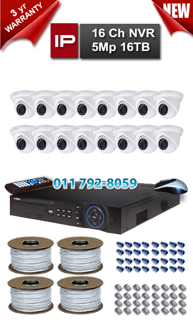 Dahua 16 Ch NVR 5Mp Resolution up to 16TB Storage + 16 x 1.3Mp 3.6mm Lens 30m IR IP Dome Cameras