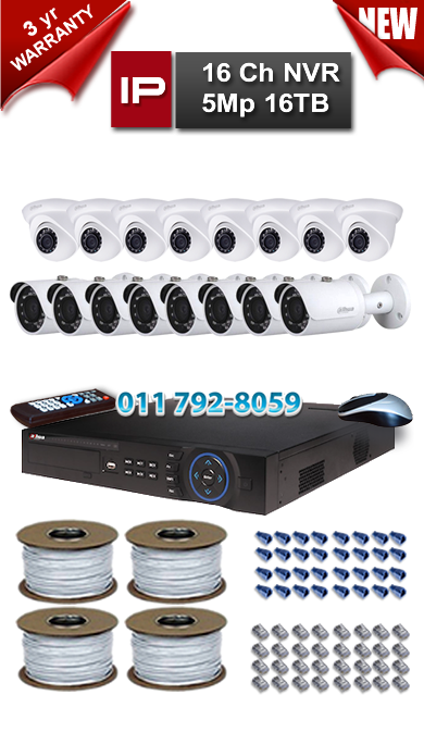 Dahua 16 Ch NVR 5Mp Resolution up to 16TB Storage + 8 x 1.3Mp 3.6mm Lens 30m IR IP Dome Camera + 8 x 1.3 Mp WP 3.6mm Lens 30m IR IP Bullet Camera