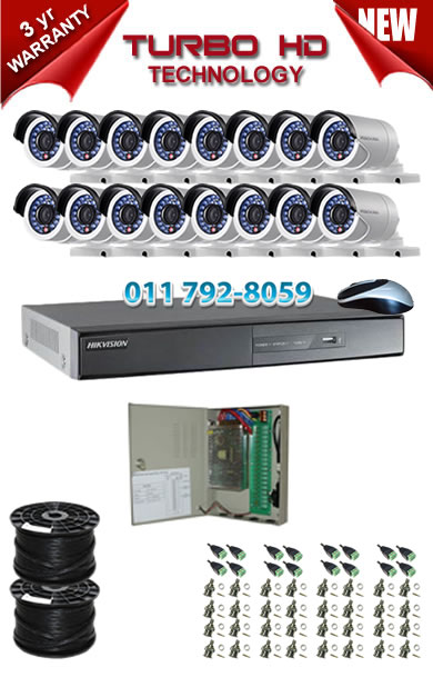 16 Channel HIKVISION 1920P Turbo HD DVR + 16 x 1Mp 720P IR Bullet Cameras