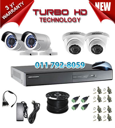 4 Channel HIKVISION 720P Turbo HD DVR + 2 x 1Mp 720P IR Turbo Dome Cameras + 2 x 1Mp 720P IR Turbo HD Bullet Cameras