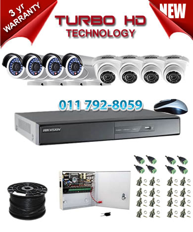8 Channel 1920P HIKVISION Turbo HD DVR + 4 x 1Mp 720P IR Turbo Dome Cameras + 4 x 1Mp 720P IR Turbo HD Bullet Cameras