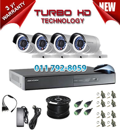 4 Channel HIKVISION 720P Turbo HD DVR + 4 x 1Mp 720P IR Bullet Cameras