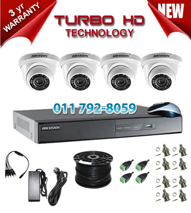 4 Channel HIKVISION 720P Turbo HD DVR + 4 x 1Mp 720P IR Dome Cameras