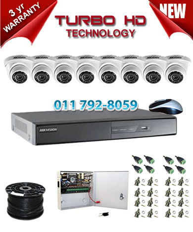 8 Channel HIKVISION 1920P Turbo HD DVR + 8 x 1Mp 720P IR Dome Cameras