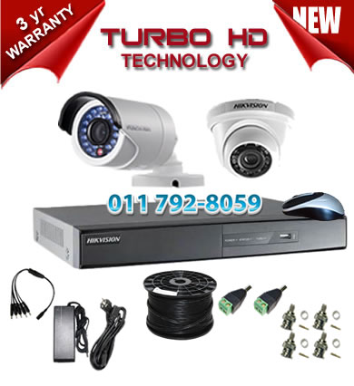 4 Channel HIKVISION 720P Turbo HD DVR + 1 x 1Mp 720P IR Turbo Dome Cameras + 1 x 1Mp 720P IR Turbo HD Bullet Cameras