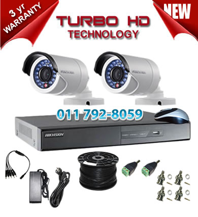 4 Channel HIKVISION 720P Turbo HD DVR + 2 x 1Mp 720P IR Bullet Cameras
