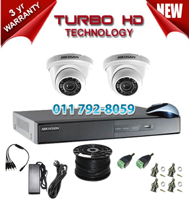 4 Channel HIKVISION 720P Turbo HD DVR + 2 x 1Mp 720P IR Dome Cameras
