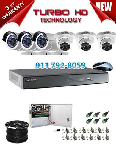 8 Channel HIKVISION 1920P Turbo HD DVR + 3 x 1Mp 720P IR Turbo Dome Cameras + 3 x 1Mp 720P IR Turbo HD Bullet Cameras