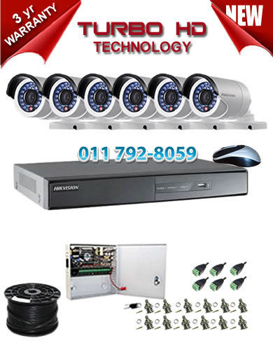 8 Channel HIKVISION 720P Turbo HD DVR + 6 x 1Mp 720P IR Bullet Cameras