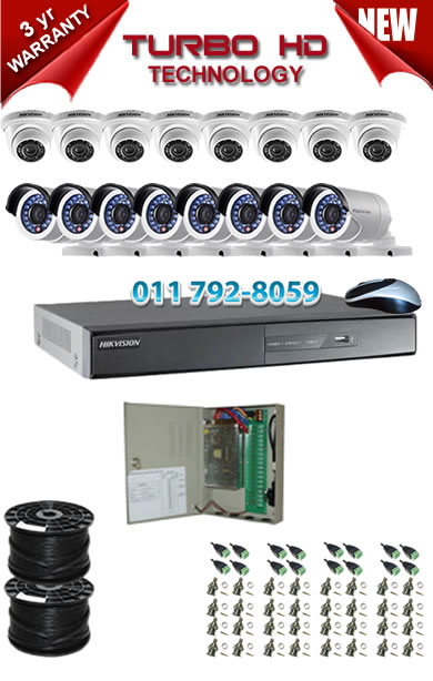 16 Channel HIKVISION 1920P Turbo HD DVR + 8 x 1Mp 720P IR Turbo Dome Cameras + 8 x 1Mp 720P IR Turbo HD Bullet Cameras
