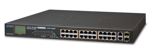24-Port PoE Ethernet Switch + 2-Port Gigabit with LCD PoE Monitor FGSW-2622VHP